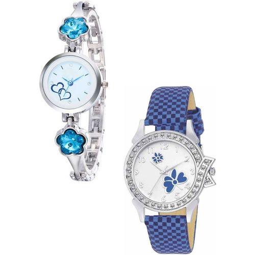 Relief Elia84-SilvrSkyBlueStone2heart & BlueSquareFlwr Unique Stylish New Watch for Girls and Women Analog Watch - For Girls