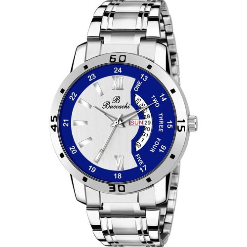 Buccachi Silver & Blue Dial Day & Date Functioning Stainless Steel Watch
