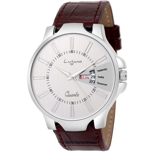 Lugano Casual Day & Date Slim Leather Watch Analog Watch