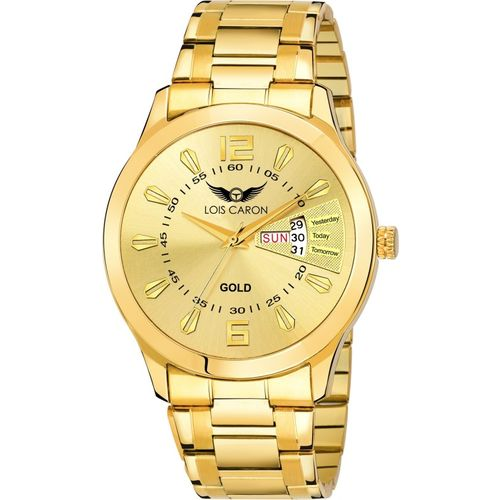 Lois Caron Gold PLated Day & Date Analog Watch