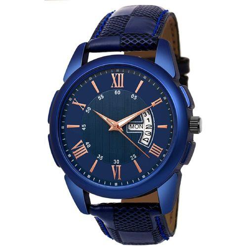 Rage Enterprise R-909 Blue Day_Date Leather Strap Men Analog Watch - For Boys