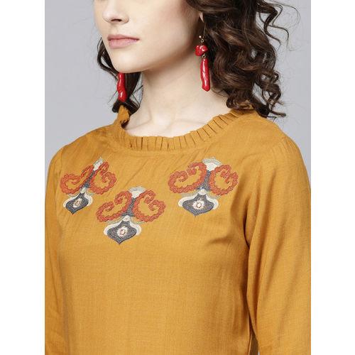 Yufta Women Mustard Brown Yoke Design Straight Kurta