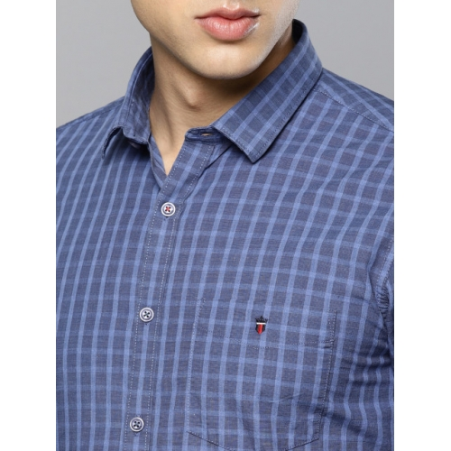 Louis Philippe Sport Men Blue Super Slim Fit Checked Smart Casual Shirt
