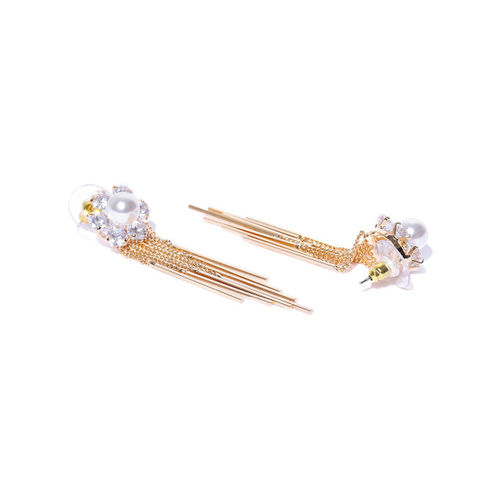 Carlton London Gold-Plated & White Stone Studded Tasselled Drop Earrings