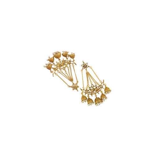 Sia Art Jewellery Gold-Toned Gold-Plated Classic Chandbalis