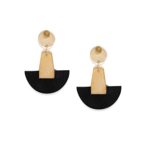 ToniQ Beige & Black Geometric Drop Earrings