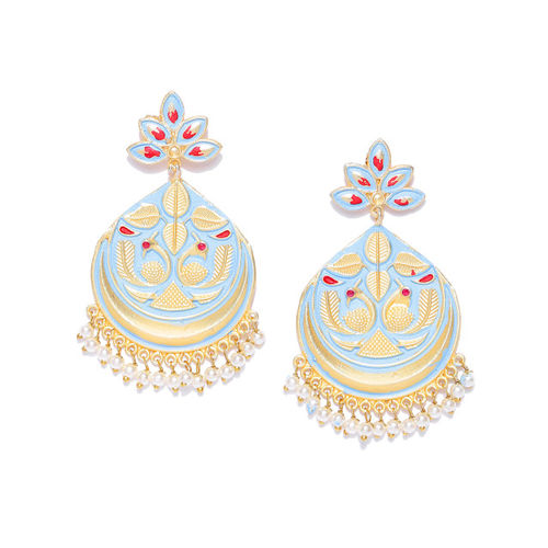 Zobby Gold-Plated Turquoise Blue Crescent Shaped Handcrafted Enamelled Chandbalis