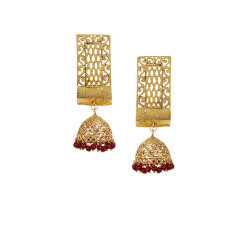 Shining Diva Gold-Toned & Red Dome Shaped Jhumkas