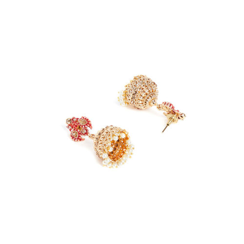 PANASH Gold-Plated & Red Dome Shaped Jhumkas