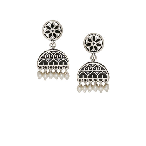 Voylla Silver-Toned Dome Shaped Jhumkas