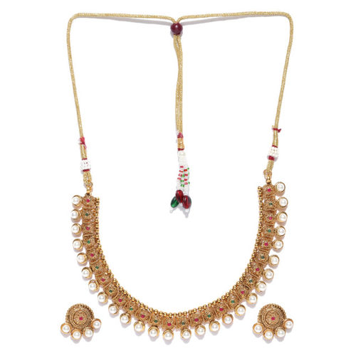 FIROZA Off-White Antique Gold-Polished Stone-Studded Jewellery Set