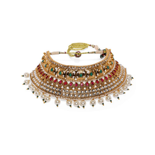 Zaveri Pearls Gold Toned & Red Traditional Bridal Choker Jewellery Set