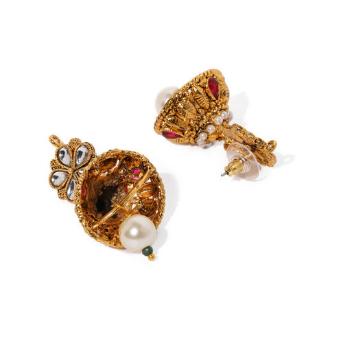 Zaveri Pearls Gold Toned & Red Traditional Bridal Choker Jewellery Set