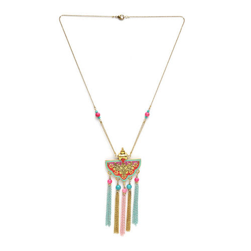 AKS Pink & Blue Antique Gold-Plated Beaded Enamelled Tasselled Handcrafted Necklace