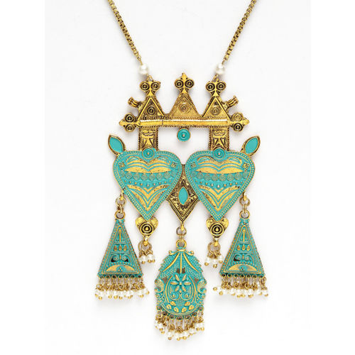 AKS Blue Antique Gold-Plated Beaded Enamelled Handcrafted Necklace