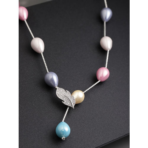 Designs By Jewels Galaxy Multicoloured Rhodium-Plated Handcrafted Necklace