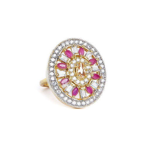 PANASH Women Gold-Plated, Pink & White CZ Stone-Studded Finger Ring