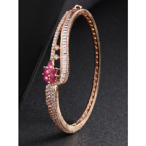 Priyaasi Magenta Rose Gold-Plated American Diamond Handcrafted Bangle-Style Bracelet