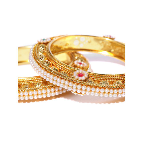 Priyaasi Set of 2 White Gold-Plated Beaded & Stone-Studded Handcrafted Bangles