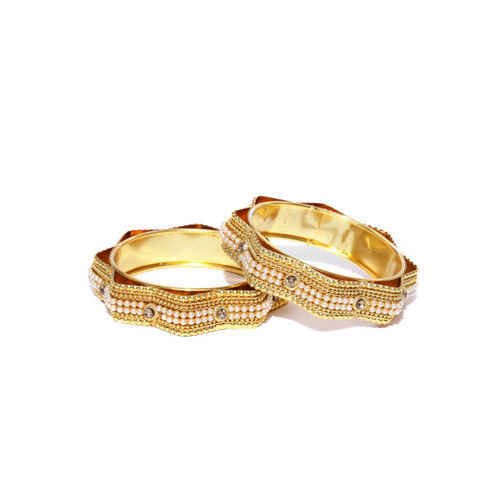 Priyaasi Set of 2 Off-White Gold-Plated Stone-Studded & Beaded Handcrafted Bangles