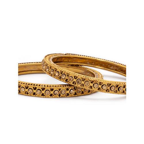 Rubans Women Set of 2 Gold-Plated Stone-Studded Bangles