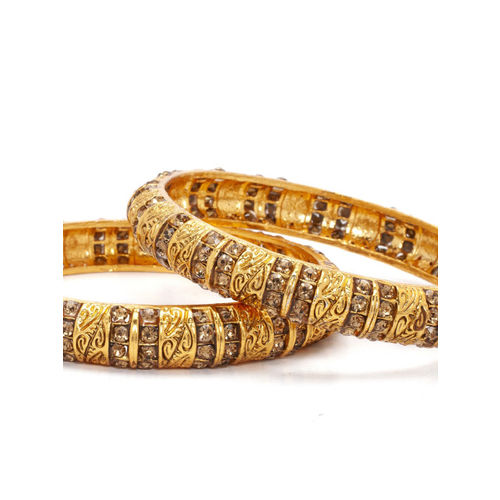 Rubans Set of 2 Antique Gold-Plated Handcrafted Rhinestone Studded Bangles