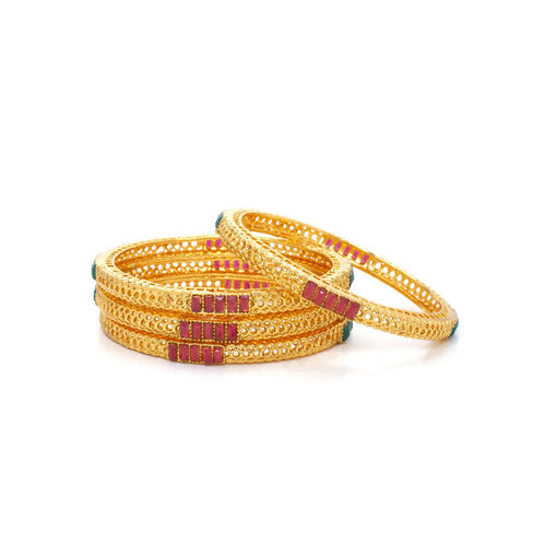 Rubans Women Set of 4 Gold-Plated & Red Stone-Studded Bangles