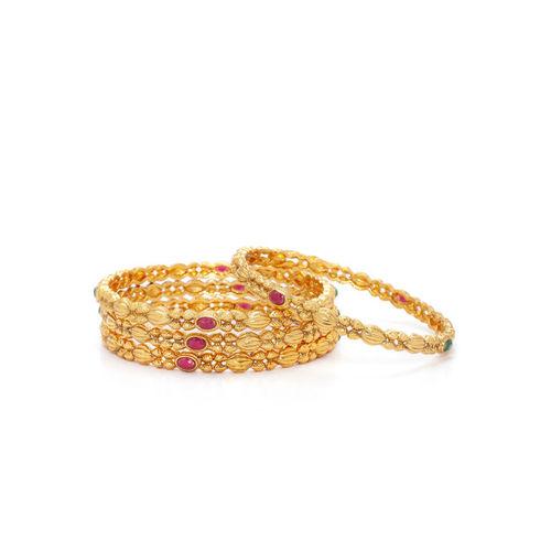 Rubans Women Set of 4 Gold-Plated & Pink Stone-Studded Bangles