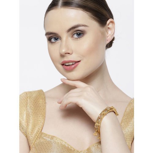 Melani Borsa Set of 2 Gold-Plated Beaded Handcrafted Bangles