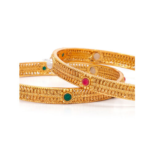 Rubans Women Set of 2 Gold-Plated Pearl Embellished & Stone-Studded Bangles