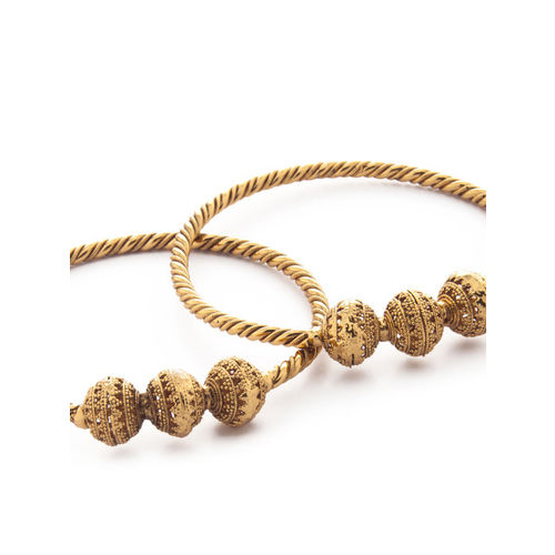 Rubans Set of 2 Gold-Plated Handcrafted Bangles