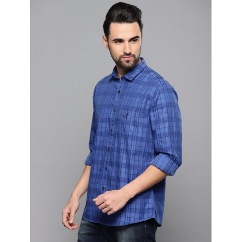 Louis Philippe Sport Men Blue Slim Fit Checked Casual Shirt