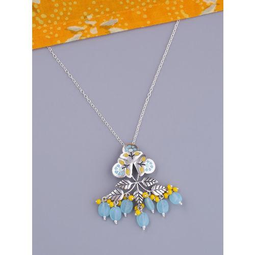 Studio Voylla Silver-Plated Pendant With Chain