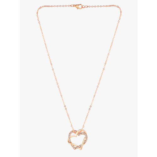 Peora Women 18KT Rose Gold-Plated Stone-Studded Heart-Shaped Pendant With Chain