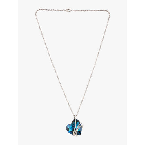 Peora Silver-Plated & White Necklace Made With Blue Swarovski Crystals