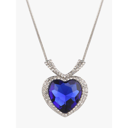Peora Women Silver-Plated Sapphire Blue Titanic Heart of The Ocean Crystal Pendant