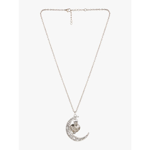 Peora Women Silver-Plated Glow In Dark Metal Moon Love Heart Fluorescent Necklace Pendant