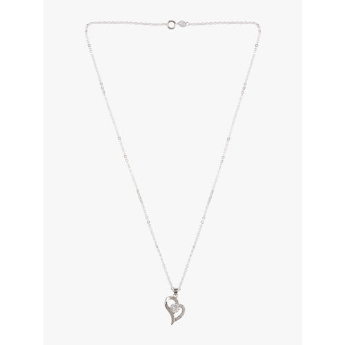 Peora Silver-Plated Letter B Heart Pendant Necklace