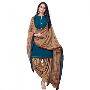 Siril Blue & Beige Crepe Printed Unstitched Salwar Suit Material
