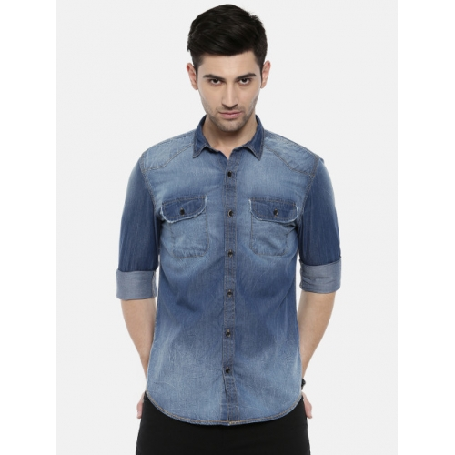 Breakbounce Men Blue Slim Fit Faded Casual Shirt