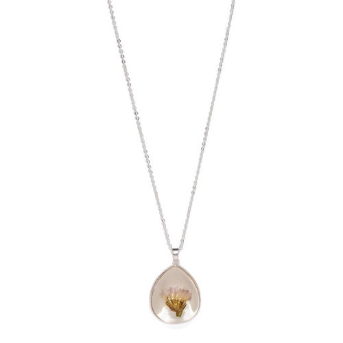 Accessorize Silver-toned & Pink Long Pendant with Chain