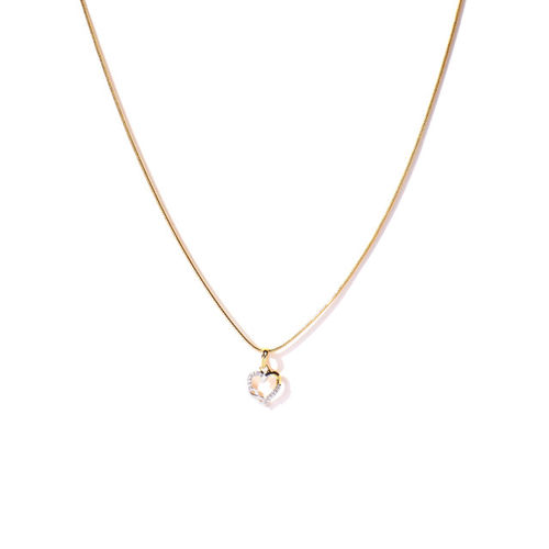 Spargz Women Gold Toned Heart-Shaped Pendant with Chain