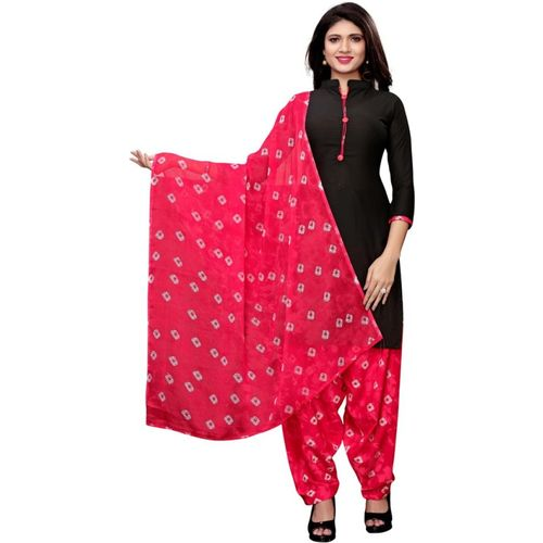 Saara Black Poly Crepe Geometric Printed Salwar Suit Material
