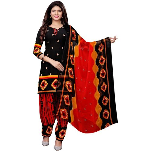 Saara Poly Crepe Geometric Print, Printed Salwar Suit Material(Unstitched)