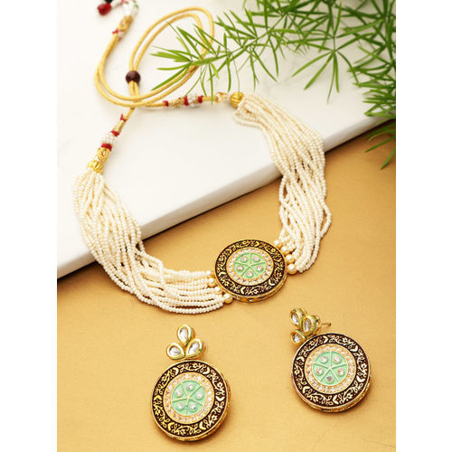 YouBella Green & Brown Gold-Plated Beaded Enamelled Handcrafted Jewellery Set