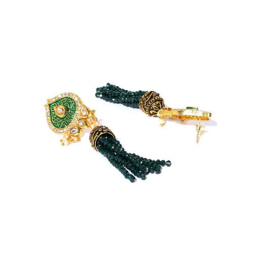 Melani Borsa Green Gold-Plated Kundan-Studded Enameled Handcrafted Jewellery Set