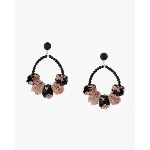 Project Eve Beaded Dangler Earrings with Pom-Poms