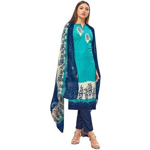 Saara Crepe Floral Print, Printed Salwar Suit Dupatta Material(Unstitched)