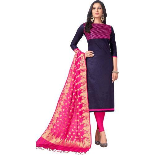 Saara Cotton Blend Embroidered Salwar Suit Material(Unstitched)