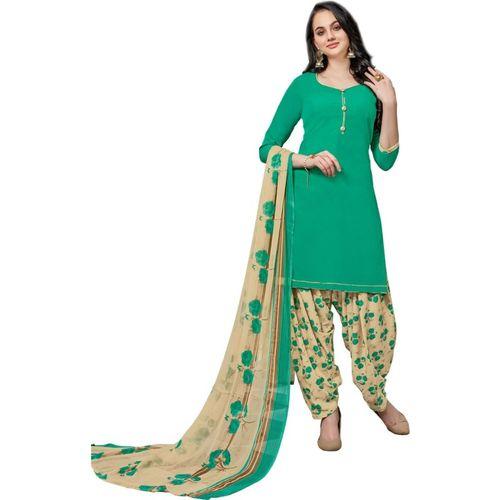 Saara Poly Crepe Solid, Printed Salwar Suit Material(Unstitched)